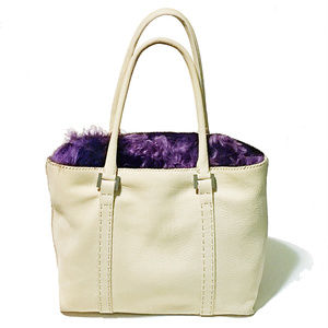 NEW ITALY Nubuck Leather w/Purple Fur Shoulder Bag